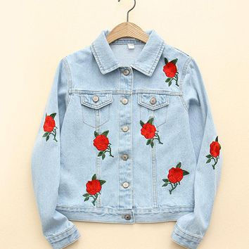 Autumn Women Vogue Rose Embroidery Blue Denim Jacket Long Sleeve Lapel Washed Basic Coat