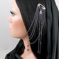 Rusila - Pirate Skull and Crossbones Black Pearl Left Ear Hair Clip and Earring