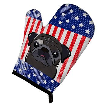 American Flag and Black Pug Oven Mitt BB2193OVMT