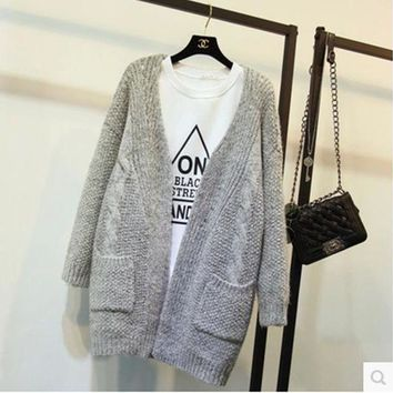 DCCKN7G Fashion Crochet Loose Long Cardigan Open-Front Sweater Cardigan Coat  Outwear
