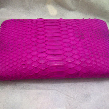 Charice Purse in Exotic Shocking Pink/ Grey/ Natural Brownish/ Yellow Glossy/Brown Python Skin Color