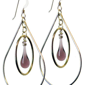 Dusty Orchid Pear Earrings