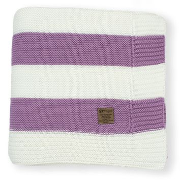 Lilac & Cream Stripe Knit Organic Cotton Blanket