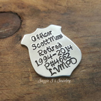 Customizable Gift Police Badge Token, Police Badge Wallet Insert, Personalized Officer Badge Charm, Retirement Gift for Police Officer