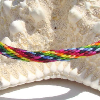 Rainbow pattern friendship kumihimo bracelet with or without purchased magnetic clasp-- your choice