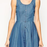 Blue Button Up High Waist Back Wrap Denim Skater Dress