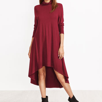 Burgundy Cowl Neck Swing Dress