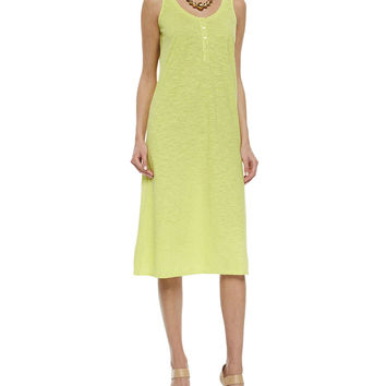 Hemp Twist Henley Tank Dress, Honeydew, Petite, Size: