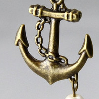 vintage style Sailor anchor necklace by qizhouhuang on Etsy