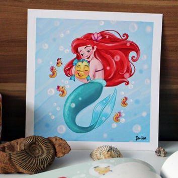 Life is the bubbles! - Ariel and Flounder from The Little Mermaid Disney drawing art print