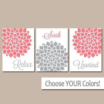 Coral Gray BATHROOM WALL Art, Canvas or Print, Coral Gray Bathroom Decor, Relax Soak Unwind, Flower Bath Quotes Pictures, Set of 3 Pictures
