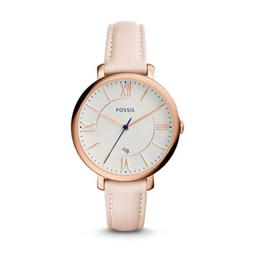 Jacqueline Date Blush Leather Watch - $115.00