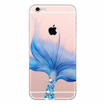 Blue Fin Mermaid Clear Soft Case iPhone 6 6s Plus