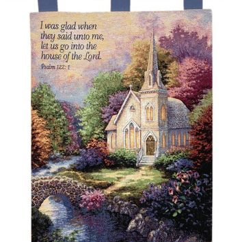 Church In The Country Tapestry of Fine Art