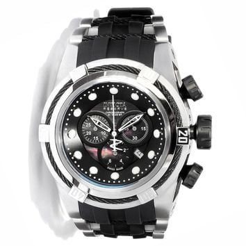 Invicta 0827 Men's Reserve Zeus Bolt Black Mother of Pearl Dial Rubber Strap Stainless Steel Chronograph Dive Watch
