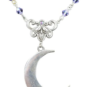 Moon Love Crescent Moon with Lilac Crystal Eternal Love Necklace