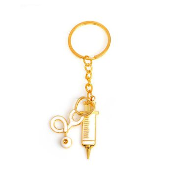 Syringe Stethoscope Keychain 2 Styles Metal Gold Medical Supplies Keyring Key Chain For Doctors Nurse Jewelry Graduation Gift