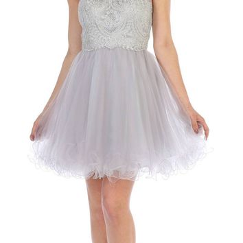 Silver Appliqued Short Prom Dress Illusion Neckline