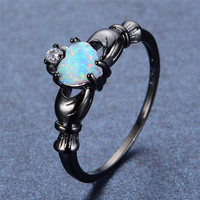 Heart Cut Opal / Black Gold Claddagh Ring