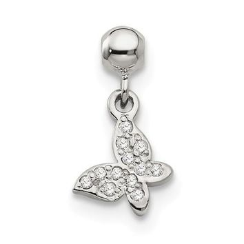 Sterling Silver Mio Memento CZ Dangle Butterfly Charm