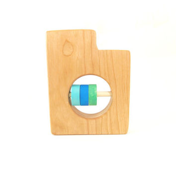 Utah Baby Rattle - Modern Wooden Baby Toy - Organic and Natural
