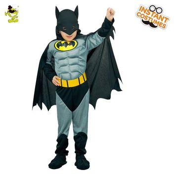 Batman Dark Knight gift Christmas Boys Muscle Batman Costumes with Cape Kids Movie Character Superhero Role Play Outfit Halloween Carnival  Brave Hero Cosplay Set AT_71_6