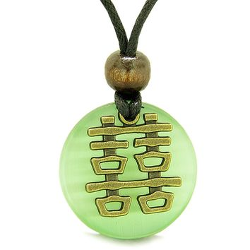 Double Happiness Feng Shui Amulet Fortune Neon Green Simulated Cats Eye Coin Medallion Pendant Necklace