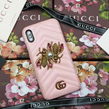 GUCCI Fashion new iphone mobile phone shell bee pearl protector phone case Pink