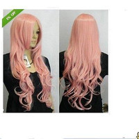 Pink Curly Wavy Long Wigs