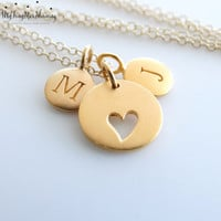 24K GOLD Heart Necklace Personalized Initial Necklace 14k gold filled Mother's Necklace handstamped Gold initial necklace