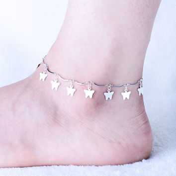 Stylish Gift Ladies Sexy Jewelry New Arrival Shiny Cute Silver Korean Strong Character Accessory Anklet [10427400532]