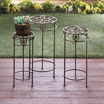 Plant Stand Trio Lonestar Western Style Cast Iron Indoor Outdoor 3 pc Set Holder