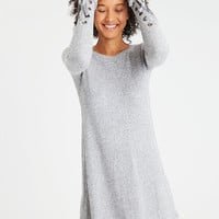 AE Lace-Up Sleeve Plush Pullover, Heather Gray