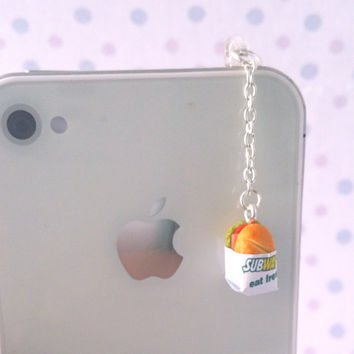 Miniature Subway Sandwich dust plug, phone charm, cell phone strap, iphone, ipad