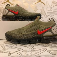 Nike Air Vapormax Flyknit MOC 2.0 Neutral Olive Habanero Red AH7006-200 Sz 7