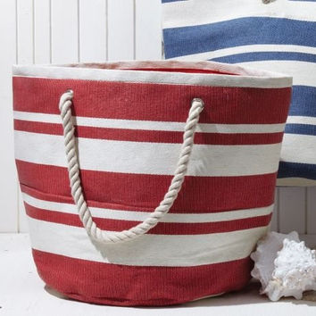 Two's Company Banded Striped Large Beach Town Tote Bag (Red)