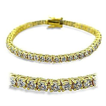 415904 Gold Brass Bracelet with AAA Grade CZ in Clear