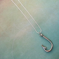 Silver Fish Hook Charm Necklace for the Country Fishing Girl