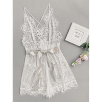 Ribbon Tie Waist Plunging Lace Sleep Romper WHITE