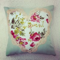 Sage Green And Pink Floral Cushion With Vintage Lace Trim. | Luulla