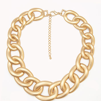 FOREVER 21 Luxe Curb Chain Necklace Gold One