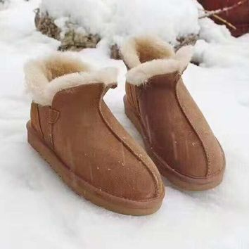 UGG Winter Fashionable Fashionable Women Warm Wool Snow Boots Brown