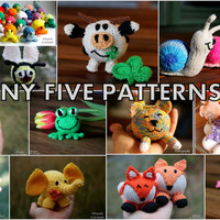 GRAB BAG! ANY 5 knitting patterns, toys for beginners and advanced knitters, spring gift and decoration, knit toys, gift for kids and adults