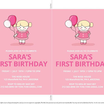 1st Birthday Invitation,First Birthday Invitation,1st Girl's Birthday Invitation,Kids printable invitation,party supplies,digital invitation