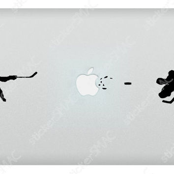 Hockey Slap Shot at the Buzzer vs. Goalie Puck Sports Mac Sticker MacBook Decal