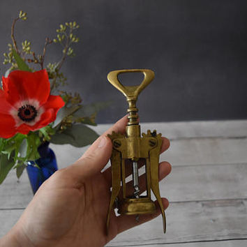Vintage Corkscrew/ Wine Opener/ Italian Brass Corkscrew/ Bottle Opener/ Stocking Stuffer/ Gift for Him/ Vintage Barware/ Gift for wine lover