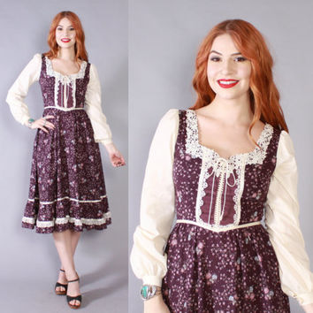 Vintage 70s GUNNE SAX DRESS / 1970s Plum Calico Floral Polka Dot Corset Lace-Up Midi Prairie Dress xs - s