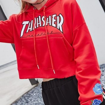 Thrasher Fashion Trending Embroidery Rose Long Sleeve Print Hoodie Top Sweater Pullover Sweatshirt Red B-A-XCY