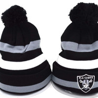 Perfect Oakland Raiders Women Men Embroidery Beanies Winter Knit Hat Cap