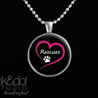 Love Rescues Glass Pendant Necklace Dog Lover Paw Print Dog Breed Jewelry